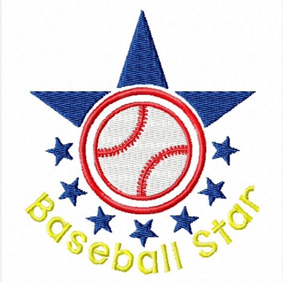Baseball Star -A Machine Embroidery Design for the Baseball Fan