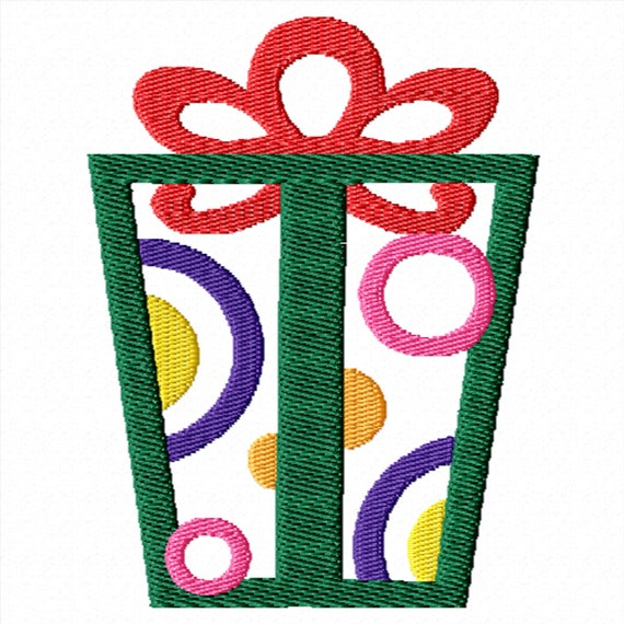 Colorful Gift -A Machine Embroidery Design for Christmas, Birthday, or Celebration