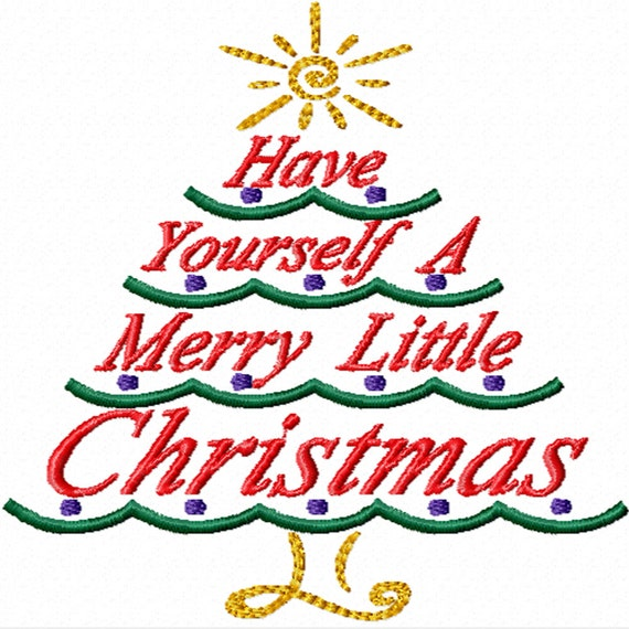 A Merry Little Christmas Tree -Machine Embroidery Design for Christmas