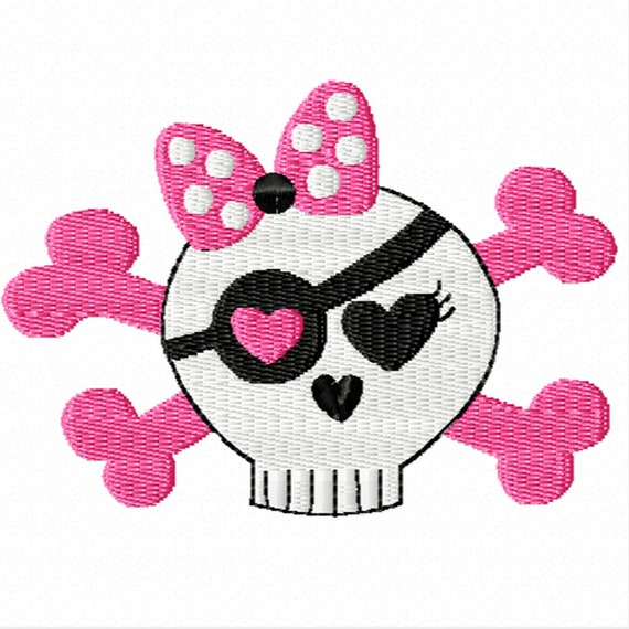 Girly Skull -A Machine Embroidery Design for girls
