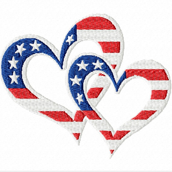 Patriotic Hearts -A Machine Embroidery Design for the 4th of July