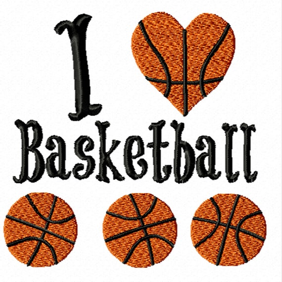 I Love Basketball- A Machine Embroidery Design for the Basketball Fan