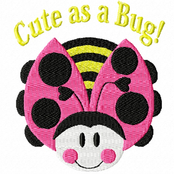 Cute as a Bug! -A Machine Embroidery Design for the Cute Little Girl in Your Life (2 sizes)