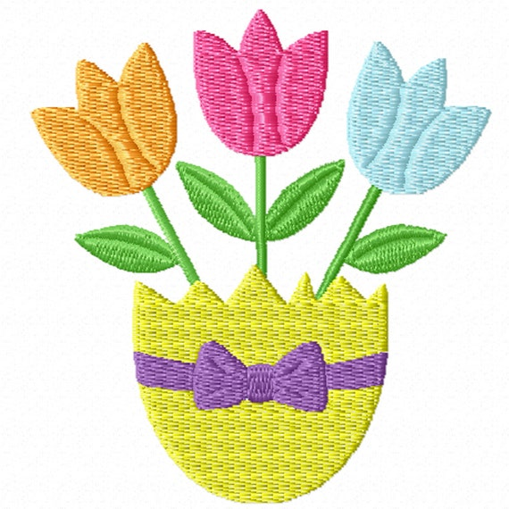 Spring Tulips -A Machine Embroidery Design for Spring or Easter