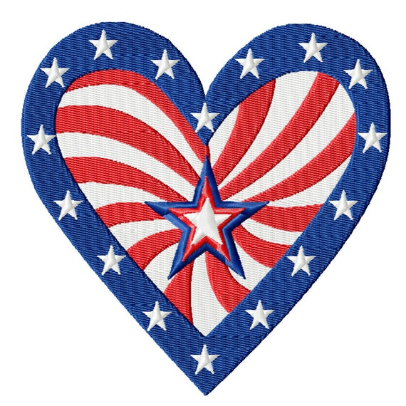 Patriotic Love -A Machine Embroidery Design for The 4th of July, Summer, or any Patriotic Themed Project