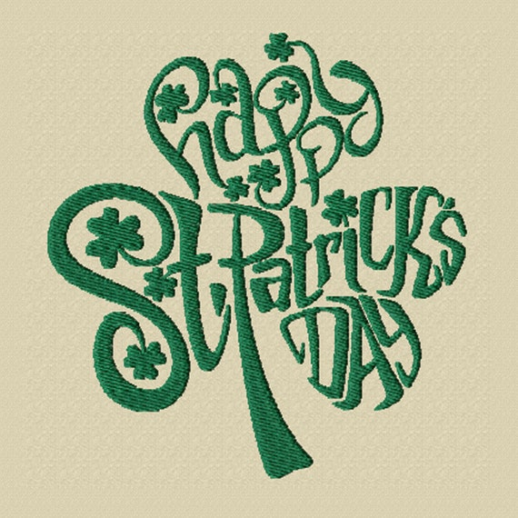 Happy St. Patrick's Day -A Shamrock Shaped Machine Embroidery Design for St. Patrick's Day (2 Sizes)