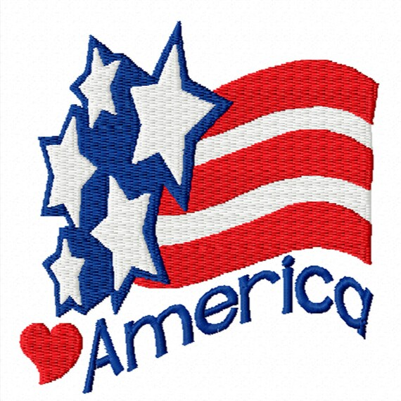 America- A  Machine Embroidery Design for the 4th of July or Patriotic Themes