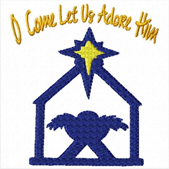O Come Let Us Adore Him -Machine Embroidery Design for Christmas