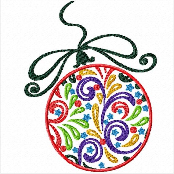 Colorful Christmas Bulb -A Machine Embroidery Design for Christmas