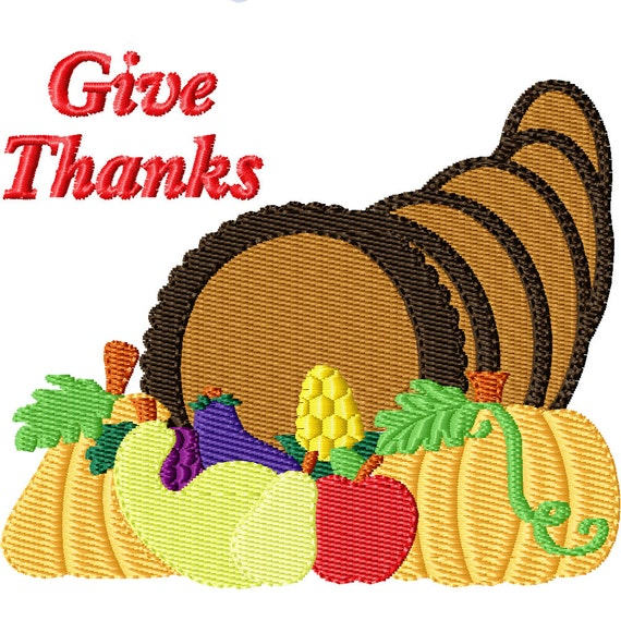 Give Thanks Cornucopia -Machine Embroidery Design for Thanksgiving