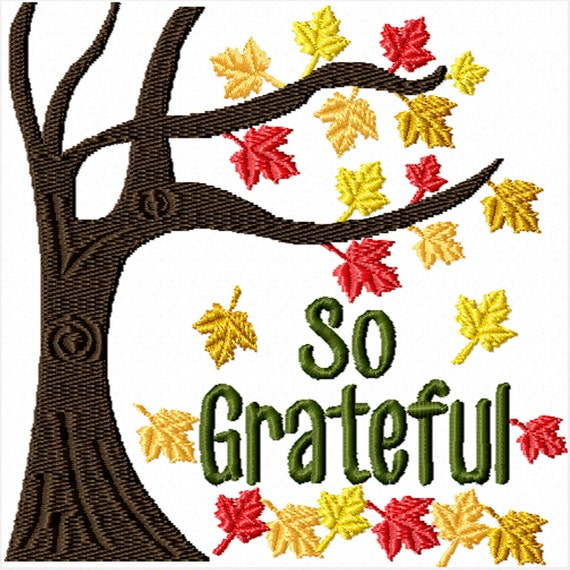 So Grateful -A Machine Embroidery Design for Thanksgiving or Fall