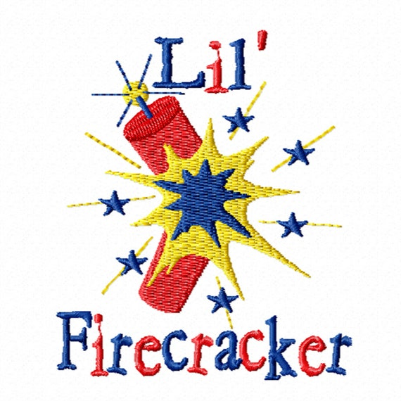 Lil' Firecracker -A Machine Embroidery Design for the 4th of July