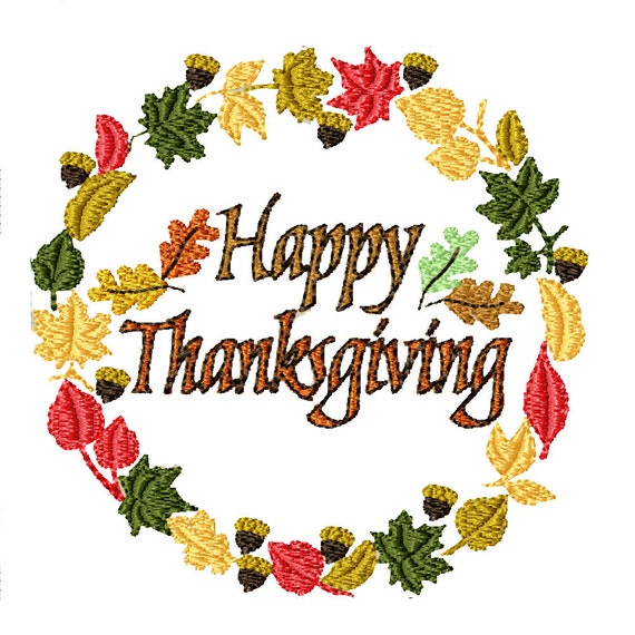 Happy Thanksgiving Wreath- Machine Embroidery Design