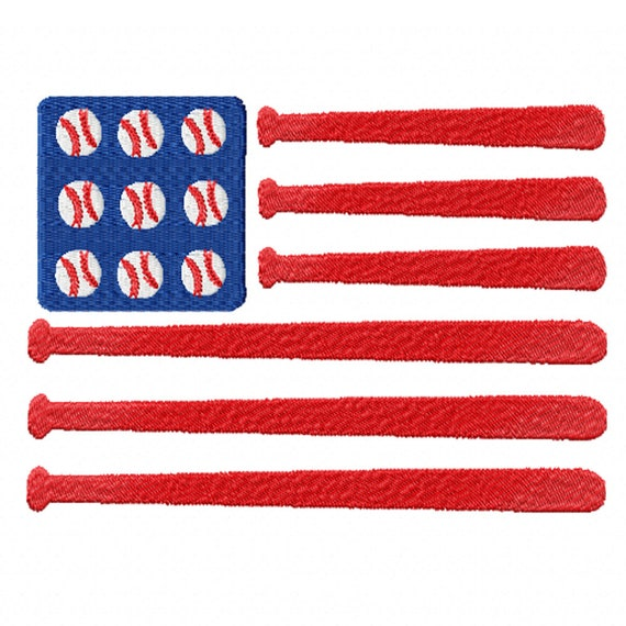 All American Baseball Flag- A Machine Embroidery Design for the Baseball Fan, July 4th, or Summer