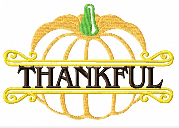 Thankful Pumpkin - A Machine Embroidery Design to Dress Up Your Fall Projects- Two Sizes