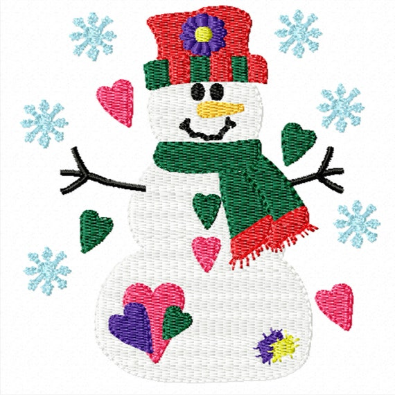 Loving Snowman -Machine Embrodery Design for Christmas and Winter
