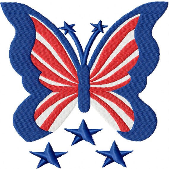 Patriotic Butterfly- A Machine Embroidery Design for the 4th of July and Summer
