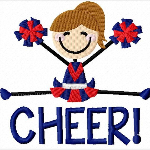 Stick Figure Cheerleader -A Machine Embroidery Design for Girls