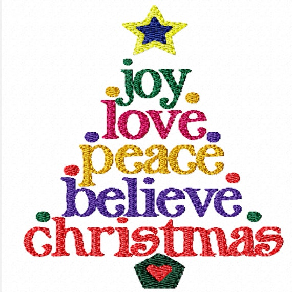 Christmas Words Tree -Machine Embroidery Design