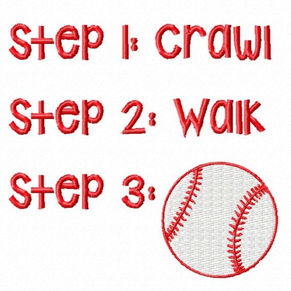 Three Steps to Baseball -A Machine Embroidery Design for the Future Baseball Player