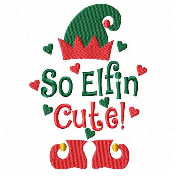 So Elfin Cute!-A Machine Embroidery Design for Christmas (Download Files in 3 sizes)