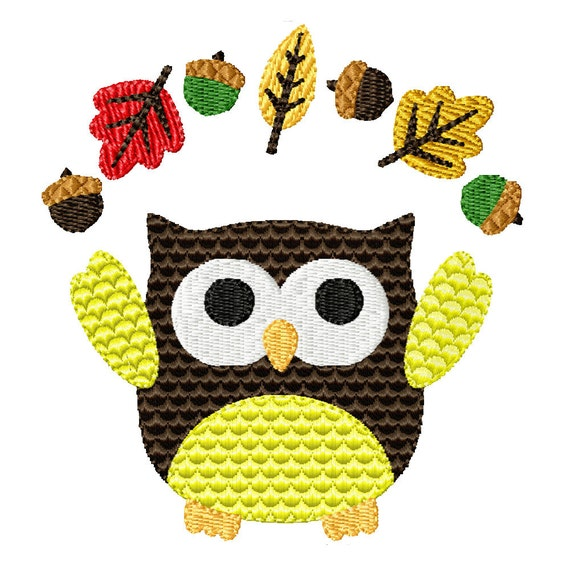 Fall Owl- Machine Embroidery Design