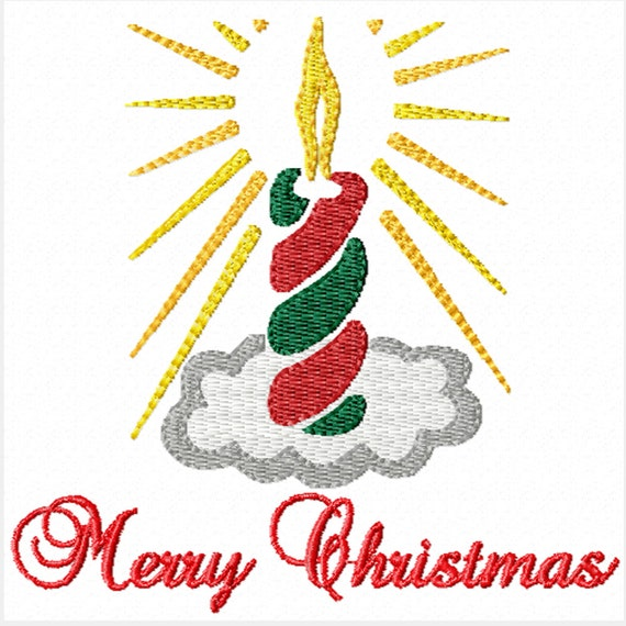 Christmas Candle -Machine Embroidery Design for Christmas