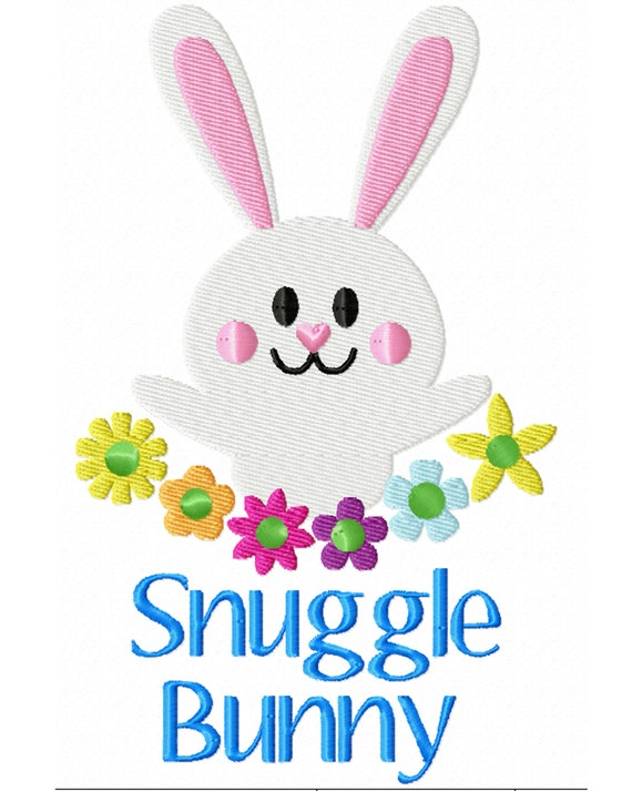 Snuggle Bunny- A Machine Embroidery Download File to Stitch For Easter or Other Projects!
