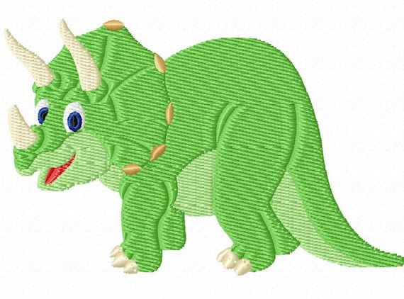 Friendly Triceratops -A Machine Embroidery Design for the Dinosaur Lover