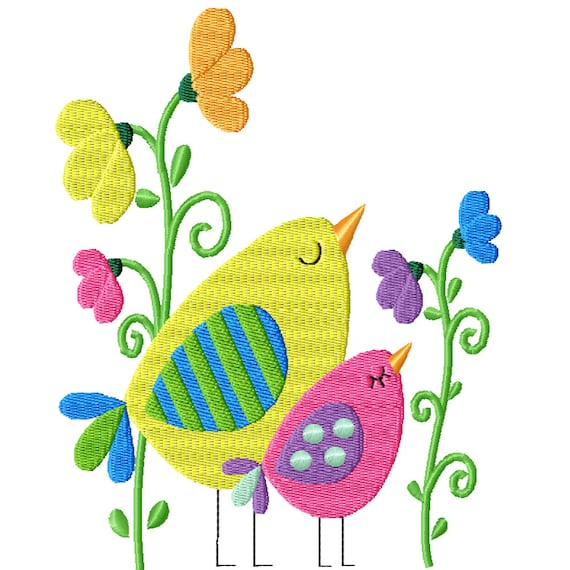 Little Birds -A Machine Embroidery Design for Spring and Summer -2 Sizes-