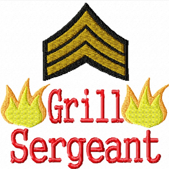 Grill Sergeant -A Machine Embroidery Design for Your Barbecue Grill Master