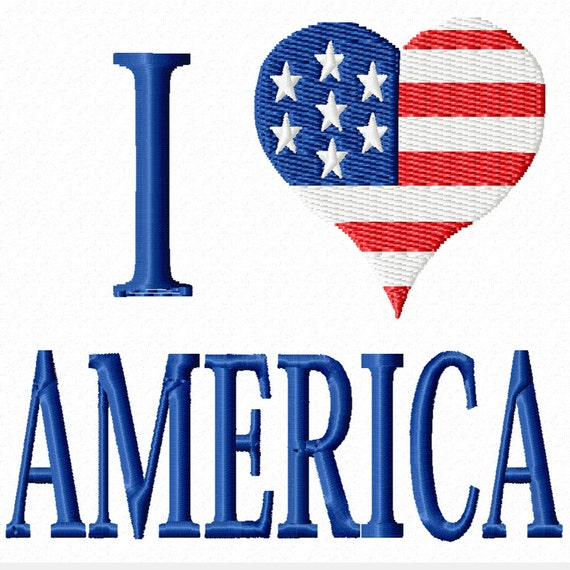 I Love America -A Patriotic Machine Embroidery Design for the 4th of July