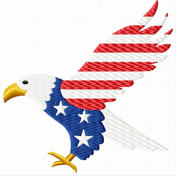 Patriotic Eagle -A Machine Embroidery Design for the 4th of July