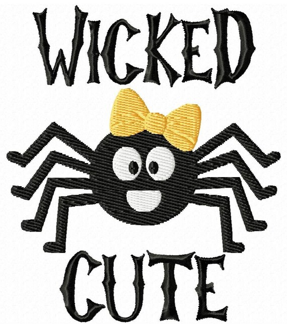 Wicked Cute- A Fun Machine Embroidery Design for Halloween--With or Without the Bow, Each in 2 Sizes!