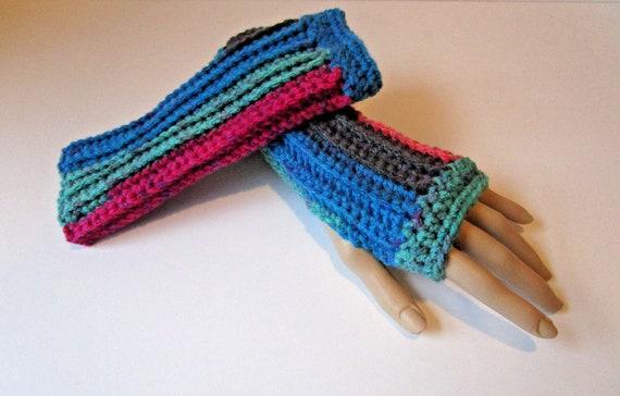 """Crochet Fingerless Gloves~Adult Size~White~9 /"""" Length"""
