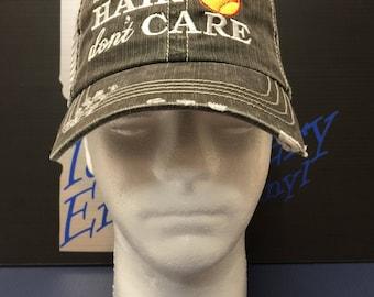 softball hair don't care trucker hat, Idaho Embroidery, trucker embroidered hat, custom hat, embroidered hat, personalized hat, baseball,