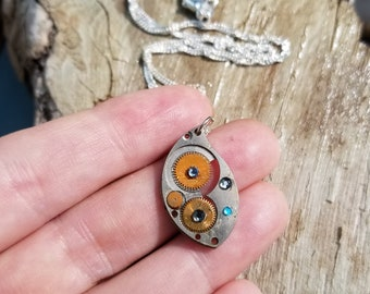 Steampunk Necklace with Swarvoski Crystals and Silver Chain, One of a Kind, Unique Gift for Her