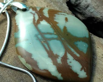 Picasso Jasper Stone Necklace, Beautiful Solid Sterling Silver Snake Chain, Bold Colors, Beautiful Stone, Perfect Gift