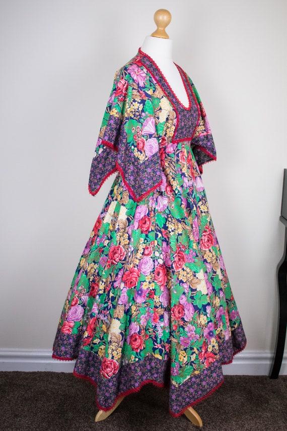 with and Boho Print Midi 70s Bright Winged Kaftan Cotton Maxi Amazing Printed Rainbow Sleeves Size Floral Dress XXS Folk Hippy qYzxAvwZ