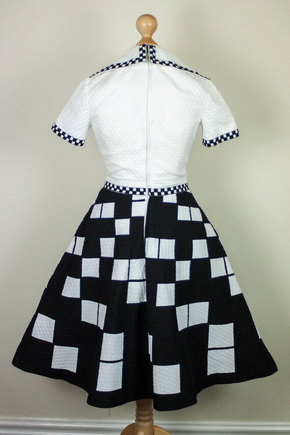 S Size Warhol Dress White 60s Psychedelic in Skater Mod XS Geometric Gogo Futurism Checkered Retro Black and Monochrome xwqwZTE74