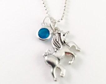 "Unicorn necklace, personalized unicorn necklace, mystical charm necklace, gift for daughter, 20"" silver necklace, unicorn charm, swarovski"
