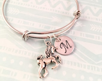 Unicorn bracelet, Little Girl bracelet, silver initial charm bracelet, unicorn charm bracelet, little girl jewelry, unicorn charm