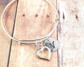 Heart bracelet, Little Girl bracelet, personalized initial charm bracelet, little girl jewelry, valentines day