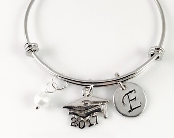 2018 Graduation bracelet, Pearl bracelet, class of 2018, Initial Charm Bracelet,  personalized Jewelry, gift for her