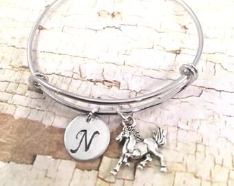 Little Girl bracelet, charm bracelet, personalized initial charm bracelet, horse/ bronco charm bracelet, little girl jewelry, horse charm