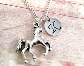 Horse charm necklace, personalized charm necklace, pony charm, 3D horse charm, little girl necklace, friend gift, daughter gift