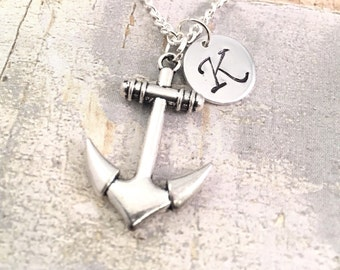 Anchor Necklace, Personalized Anchor Necklace, Anchor Jewelry, Anchor Pendant, Charm Necklace, Large Anchor