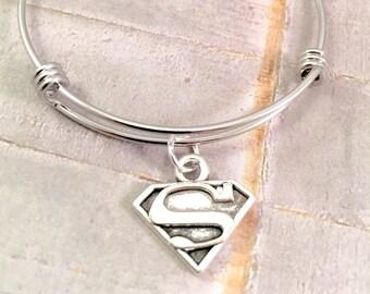 Supermom bracelet, Super Woman bangle bracelet, mothers day, teacher gift, adjustable bangle bracelet,  for mother, super mom, superman logo