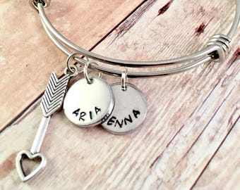 Mothers Bracelet, Name bracelet, Arrow bangle bracelet,  Personalized Jewelry, Adjustable bangle bracelet, My Tribe bracelet, Mothers Day