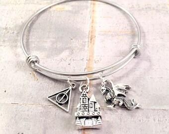 Dragon Charm Bracelet, charm bracelet, silver charm bracelet, magical Castle charm,  deathly charm, adjustable bangle bracelet, hallows